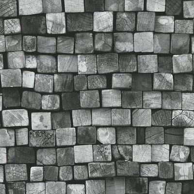 Black Grey Modern 3D Brick Wallpaper Design Decor City