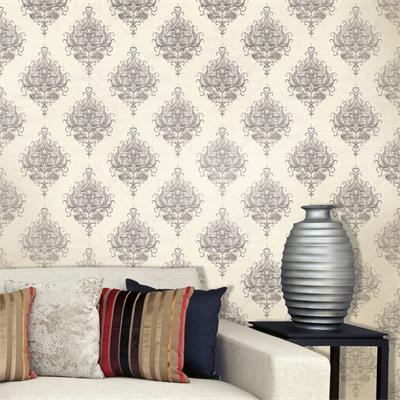 Grey and cream royal damask 1550 wallpaper design decor city for Grey and cream wallpaper