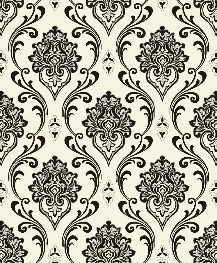black and white modern damask wallpaper design l813007 decor city. Black Bedroom Furniture Sets. Home Design Ideas