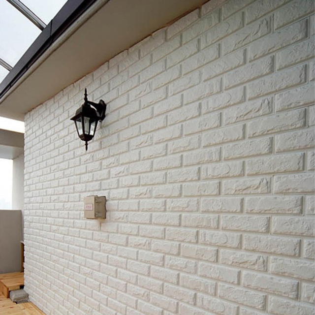 white new embossed pe foam brick wall sticker | decor city