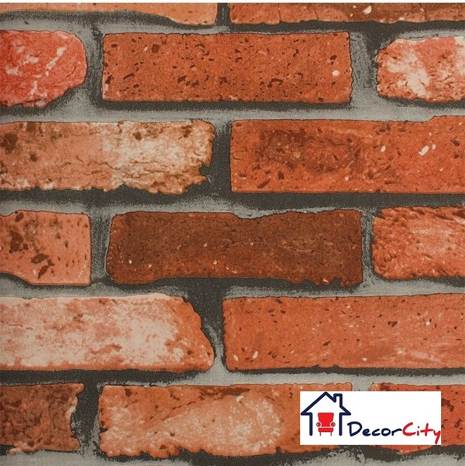 Washable 3D Orange Brick Wallpaper Design