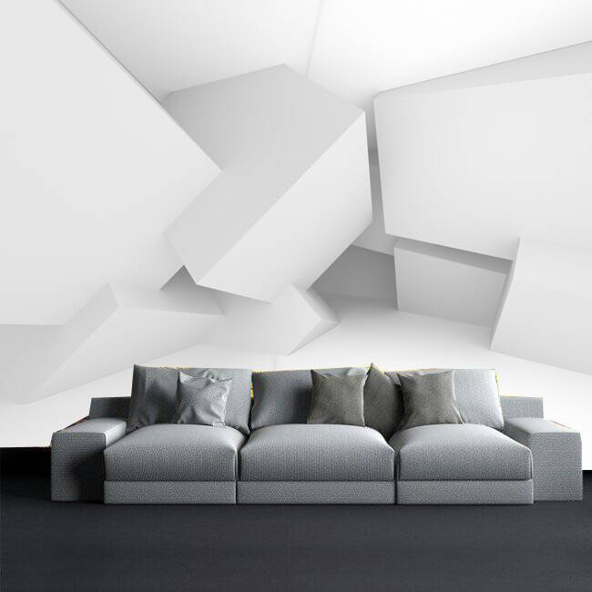 White Grey Geometric Wall 3d Custom Wall Murals Wallpapers Dcwm000877 Decor City