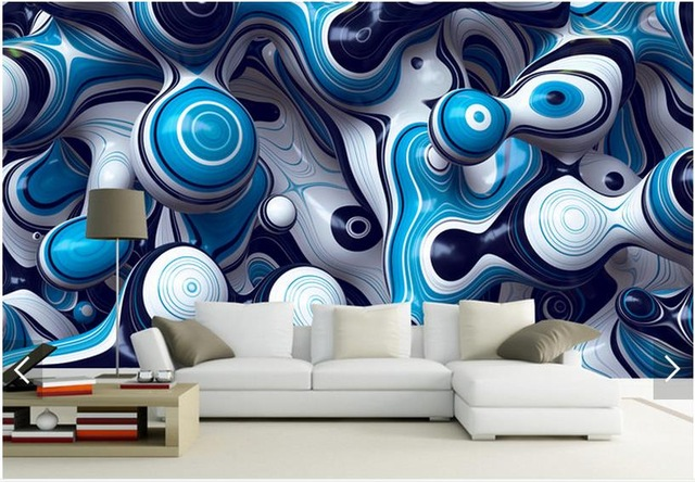 Blue And White Abstract 3d Custom Wall Murals Wallpapers