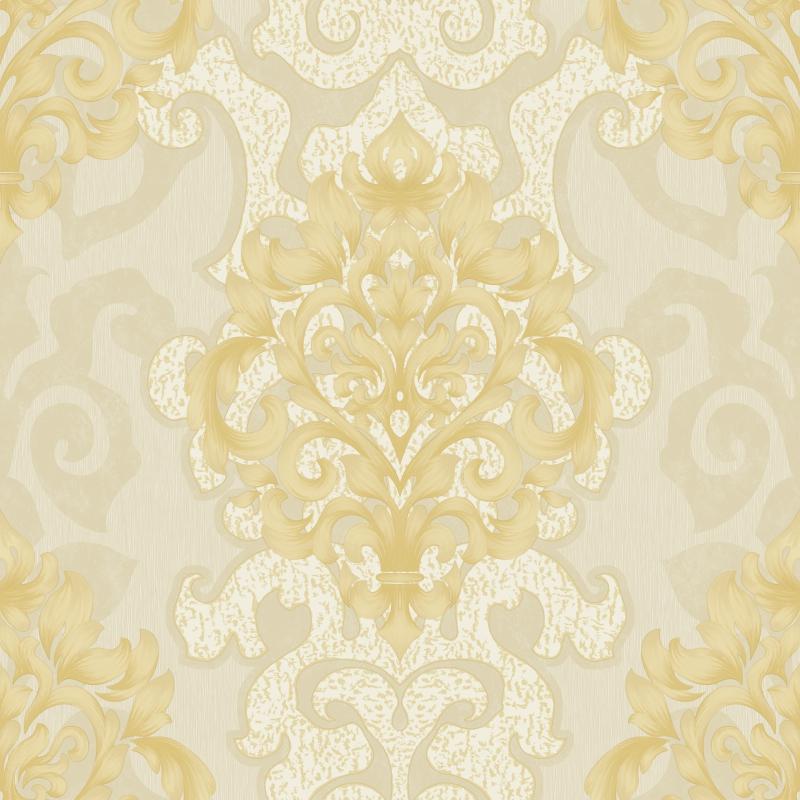 Cream And Gold Damask Wallpaper A18 1p45 Decor City