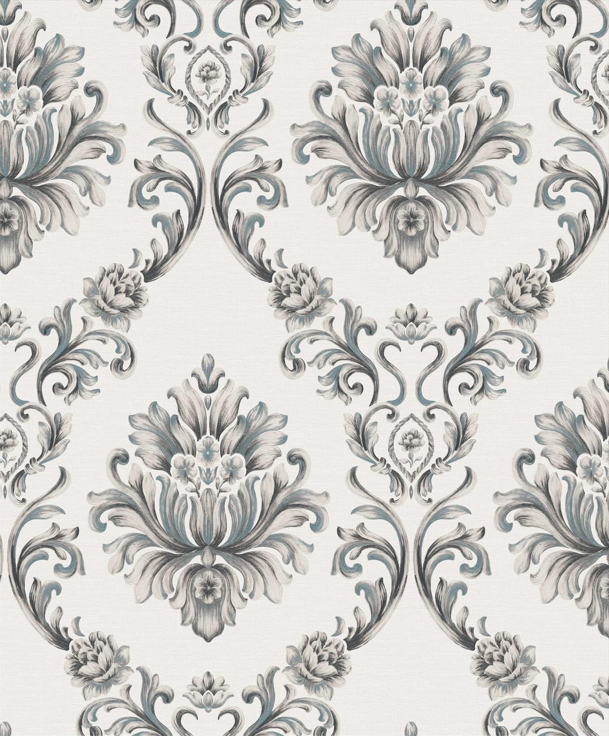 Grey And White Damask Wallpaper A22 14p11 Decor City