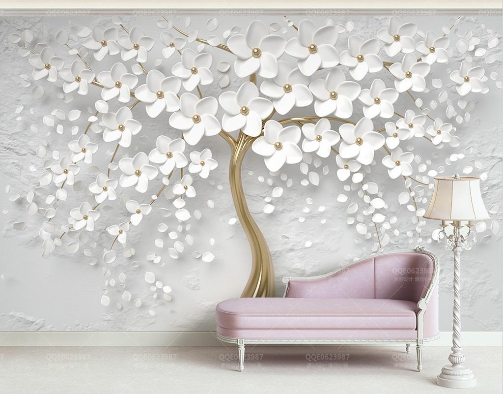 Custom White Tree Photomural Wallpaper Design Dcwm0016652 Decor City